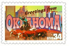 The Oklahoma State Postage Stamp  Depicted above is the Oklahoma state 34 cent stamp from the Greetings From America commemorative stamp series. The United States Postal Service released this stamp on April 4, 2002. The retro design of this stamp resembles the large letter postcards that were popular with tourists in the 1930's and 1940's.