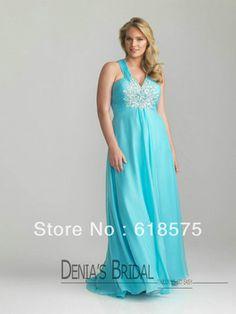 Plus Size formal dresses for beach wedding | ... Beaded V Neck Long Chiffon Aqua Plus Size Dresses for Weddings