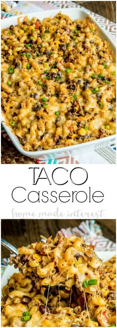 Taco Macaroni Casserole dinner. Full of all of your favorite tex-mex flavors this is a taco casserole recipe that puts a fun spin on taco night! Turn your typical macaroni and cheese recipe into a spicy southwest comfort food with this easy taco macaroni casserole.  via @hmiblog