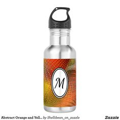 Abstract Orange and Yellow Spiral Dots Monogram Water Bottle