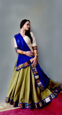 A modern woman looks elegant and neat in a Saree or Gopi skirt which enhances that spiritual mindset with tradition and modernality. Indian Dress Up, Indian Fashion Dresses, Indian Designer Outfits, Indian Attire, Indian Outfits, Designer Dresses, Indian Clothes, Indian Wear, Garba Dress