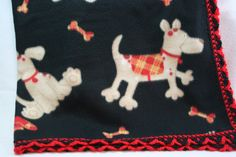 Red and Black Dogs 36x36 Crochet Edge Fleece Blankets by MonaSewingTreasures on Etsy