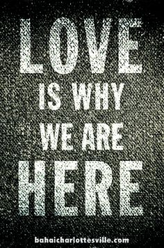 Love is the purpose for our existence. Now, what are we going to do about it? #bahai #love #humanity