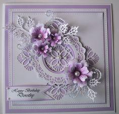 ...by Marjorie Ramsay - Ravello Striplet die - Melbourne die -  Lace Edged Leaves die - Tattered Lace flourish die - FSS flowers- computer generated greeting