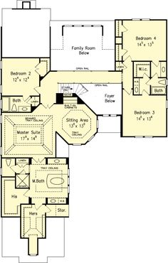 The AVONLEA House Plans Second Floor Plan - House Plans by Designs Direct. Love the fact that the rooms are on a separate floor than the family areas,kitchen, living, ect. Except for one that can be for guests.
