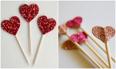 Glittery Heart Shaped Wedding Cake Toppers DIY