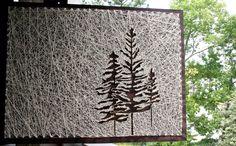String Art Baum 26 x 18 Kiefer-String-Kunst von DistantRealms