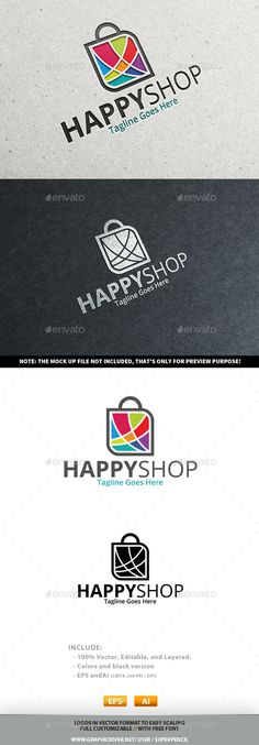 Happy Shop Logo (JPG Image, Vector EPS, AI Illustrator, Resizable, CS, app logo, bag, business, buy, cart, cheap, colorful, deal, discount, e-commerce, ecommerce, internet, mall, market, media, offer, online, online store, order, price, retail, sales, sell, service, shop, shopping, store, tag, tags, website)