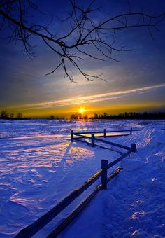 Blues of Winter ... the cold warmth of a winter sunset -- by Phil Koch