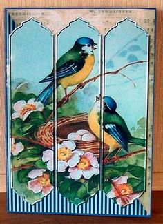 Birdsong Tri panel Card on Craftsuprint designed by Luanne Collins - made by Cheryl French - Printed onto glossy photo paper. Attached base image to card stock using ds tape. Built up image with 1mm foam pads. - Now available for download!