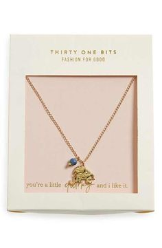 31 Bits Boxed Elephant Charm Necklace