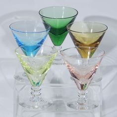 Colored Champagne Glasses, Champagne Flutes, Martini, Vases, Crystals, Tableware, Vintage, Champagne Glasses, Dinnerware