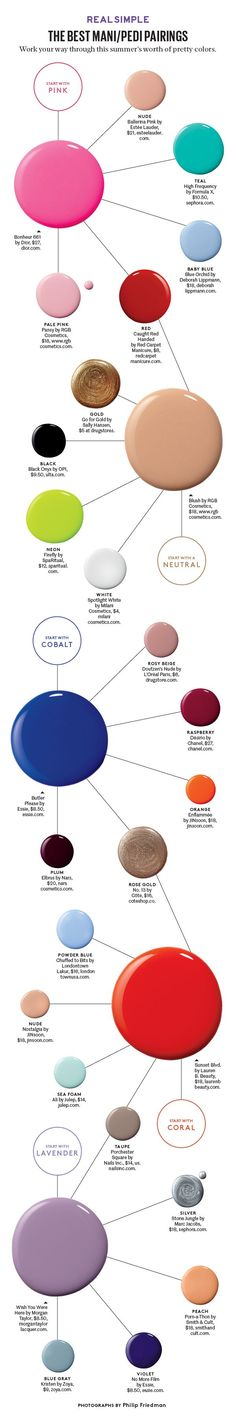 Choose your own color adventure with our favorite mani/pedi color combos.