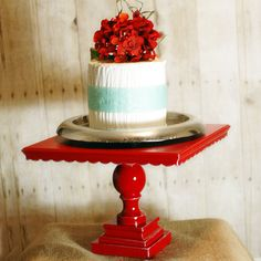 roxyheartvintage.com  Shabby Chic Pedestal Antiqued Cake Stand or serving platter for your vintage style buffet table or wedding.