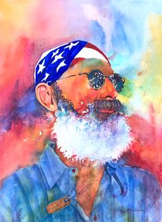 """Independence Day""  Beard, old man, flag, watercolour, people"