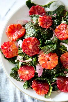 Healthy lunch -Kale and blood orange salad.