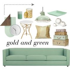 Gold and Green; minty frest living room!