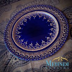Royal blue and gold indian henna inspired mehndi thaal