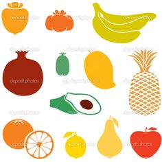 Different Fruits, Food Icons, Silhouette Images, Illustration, Illustrations