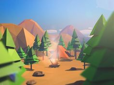 Low poly nature by Moek , via Behance