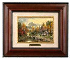 Valley of Peace - Brushwork (Burl Frame) by Thomas Kinkade