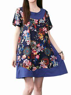 Sale 26% (20.69$) - Vintage Women Flower Printing Patchwork Mini Dress