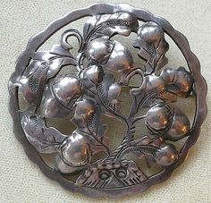 PRICE REDUCED Early 1900s KALO Pin Brooch Sterling Silver Hand Wrought Design Oak & Acorn Design
