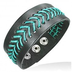 Black Leather Wristband Bracelet with Blue Stitch For A Man 25mm