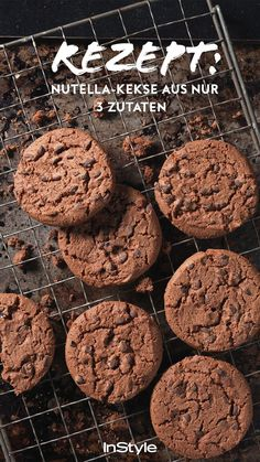 You only need 3 ingredients for these Nutella cookies - Nutella cookies are super . - You only need 3 ingredients for these Nutella cookies – Nutella cookies are super tasty, quick to - Easy Cookie Recipes, Healthy Dessert Recipes, Snack Recipes, Snacks, Healthy Food, Homemade Desserts, Fudge Recipes, Healthy Eating, Biscuit Nutella