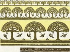 Swing Tree I, by Virginia Lee Burton Demetrios, famous children's author: Wood Block Print on cloth for the Folly Cove Designers near Gloucester, MA.