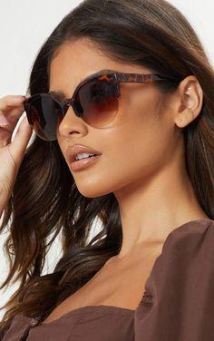 3b668d3a95 Brown Semi Frameless Animal Print Sunglasses