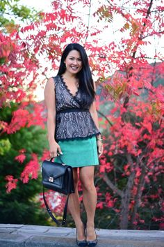 Autumn textures!  #fallstyle #red #foliage #autumn #fall #green #suede #skirt #lace #top #peplum #loefflerrandall #rider #bandbag #bag #swag #tweed #pumps #outfit #fashion