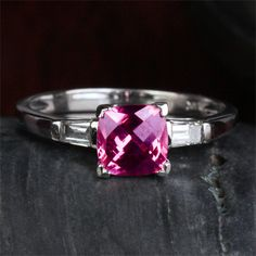 1.09CT VS pink tourmaline 14k white gold Baguette by ThisIsLOGR