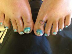 Glitter toes nail art.. I just like that spot for a tat.. Cute n small n simple!
