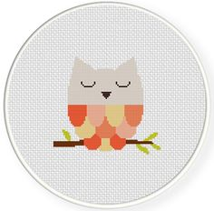 FREE for June 19th 2014 Only - Sleepy Owl Cross Stitch Pattern