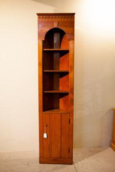 tall oak corner cupboard