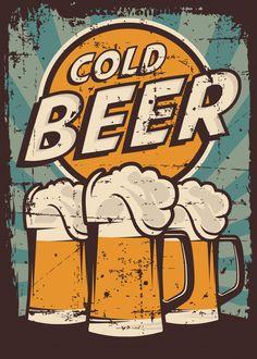 Vintage Cartoon, Retro Vintage, Vintage Party, Beer Poster, Poster Poster, Posters Vintage, Plakat Design, Beer Art, Arte Pop
