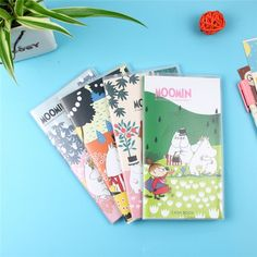 4pcs/lot Funny Cute Cartoon Moomin 48K PU Cover Notebook Diary Book Exercise Composition Notepad Creative Gift Stationery