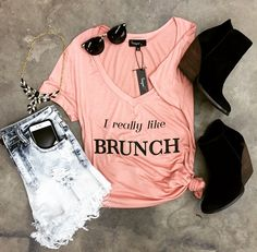 I Really Like Brunch | Crop It Off Shorts | Very Volatile Whitby Black | Vintage Sunnies | Warrior Princess Necklace {Black}