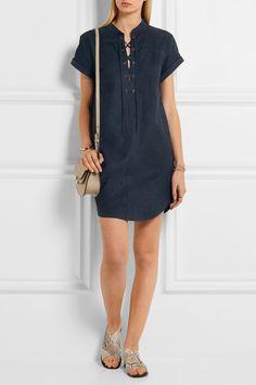 Frame | Le Lace Up suede mini dress | NET-A-PORTER.COM