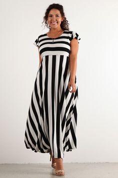 Plus Size Striped Maxi Dress Black White Cap Sleeve Empire Waist Skirt 1x 2X 3X | eBay