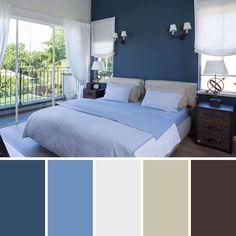 Dormitorio azul y blanco