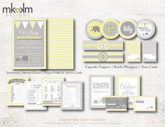 Oh Baby Elephant Baby Shower Bundle: Party Printables- Invite- Baby Shower Games- Party Decor - Gender Neutral - #1202 Yellow and Gray by MKKMDesigns on Etsy https://www.etsy.com/listing/173618509/oh-baby-elephant-baby-shower-bundle