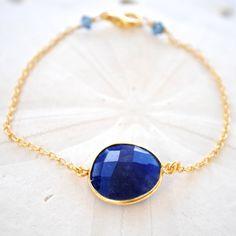 Lapis Delicate Chain Bracelet by laurenamosdesigns on Etsy, $24.00