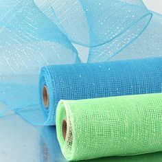 Thin Thread Iridescent Deco Mesh - TURQUOISE and BRIGHT GREEN