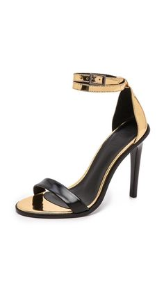 gorgeous! Amber ankle sandals in black and metallic gold leather by Tibi. #shopbop.com