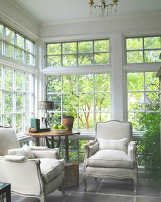 @loithai - This is a sunroom design project of mine for a dear friend. What was once a seldom used side porch is now a four season room to enjoy the garden. I selected a new slate floor to visually tie to a nearby terrace, and gracious windows that are also energy efficient. Most of the furniture is from my shop. - https://www.instagram.com/p/BS3qsW6Fu77/