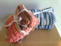 Crochet Cotton Dishcloth  Spa Washcloth  Set by PunkinPatchApparel