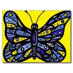 Mariposas azules amarillas de la mariposa