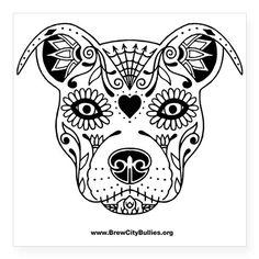 Sugar Skull Black Sticker on CafePress.com